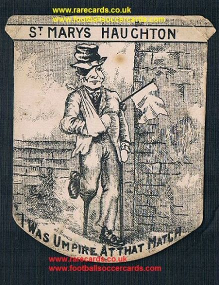1890s St Mary's Haughton Green  Pears Soap Baines Linoleum referee umpire card